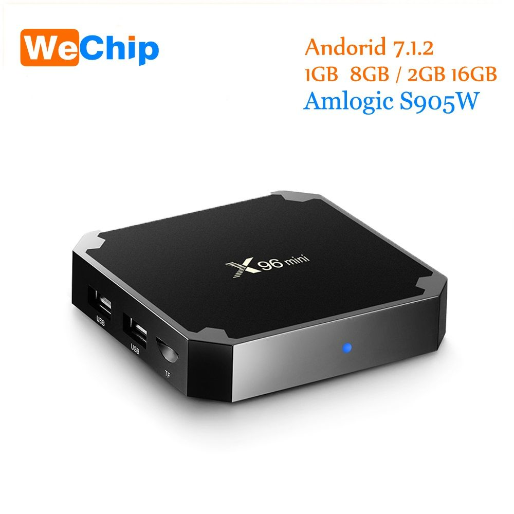 Wechip X96 Mini Android 7.1 Tv Box 1G + 8G/2G + 16G Amlogic S905W Quad Core Soutien 4 K Lecteur Multimédia 2.4G Wifi x96mini Set Top Box