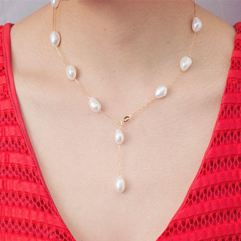 [NINFA] 925 joyería de plata esterlina joyería de la perla natural perla barroca blanca collar de la joyería colgante para las mujeres x1213