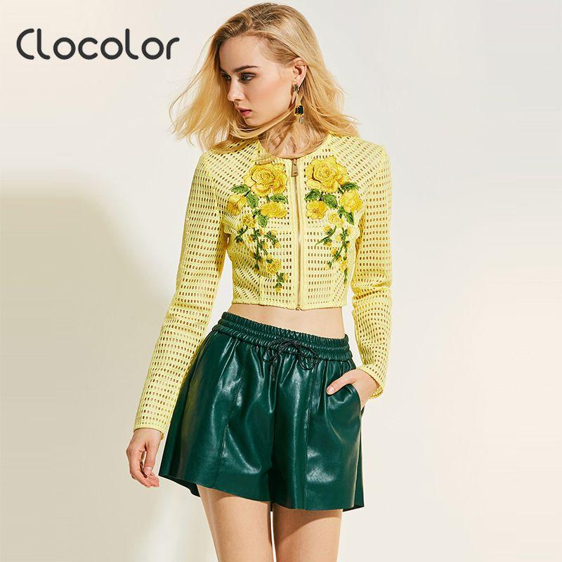 Clocolor Women Jacket Hollow Thin Hollow Slim Floral Patchwork Long Sleeve Zipper 2017 Autumn Casual Loose Women Jacket