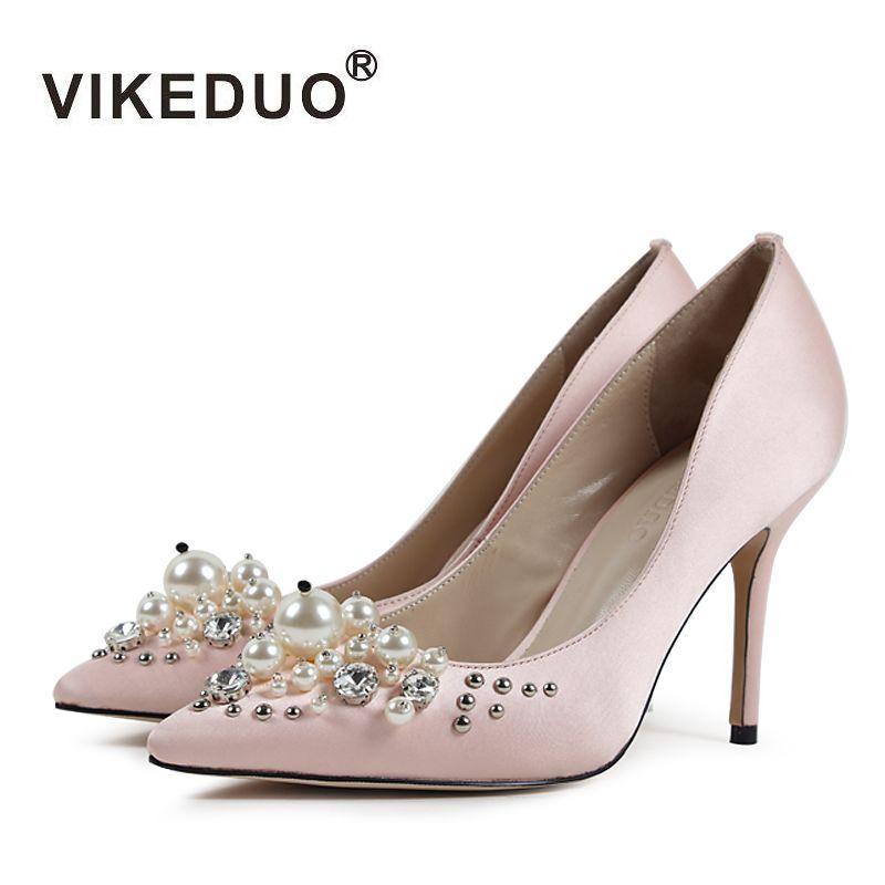 Vikeduo 2017 caliente de Lujo del diamante Stilettos Sexy Baile Vestido de Novia partido de Zapatos para Damas Mujeres de seda verdadero de Alta Tacones delgados zapatos