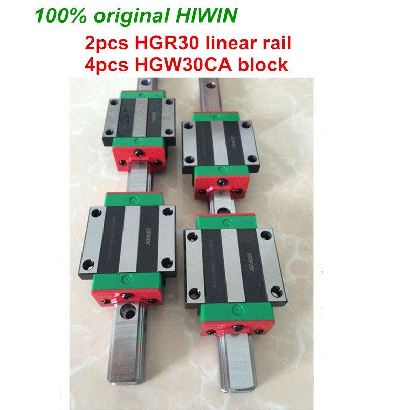 100% original HIWIN 2 stücke HGR30 200mm 300mm 400mm 500mm 600mm 700mm 800mm 1000mm Linearführungsschiene + 4 stücke HGW30CA HIWIN Wagen