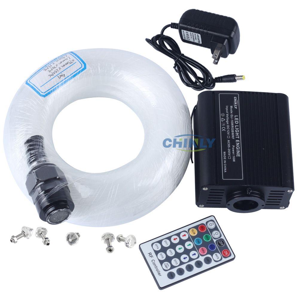 16W RGBW LED Fiber Optic Star Light Ceiling Kit Lights Mixed 335 Strands 4m (0.75mm+1.0mm+1.5mm+ crystal ) with 28 key RF Remote