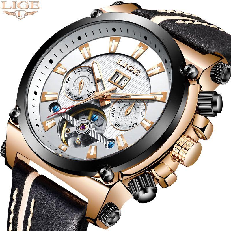 LIGE Männer Uhr Top Marke luxus Automatische Mechanische Uhren Leder Wasserdichte Große Zifferblatt Sport Uhr Männer Armee Militär Uhr
