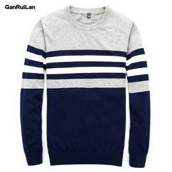 Sweater Pria 2018 Baru Pullover Kasual Pria Musim Gugur Leher Bulat Patchwork Rajut Kualitas Merek Pria Sweater B0275