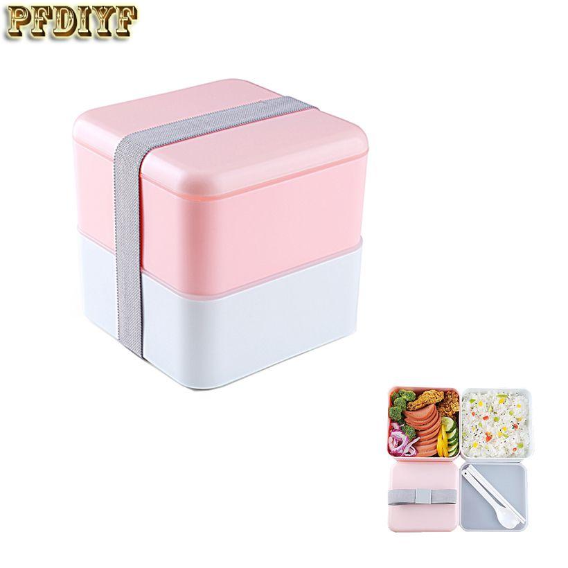 Новый Портативный 2 Слои Ланчбокс высокое качество японский бенто обед коробок герметичной изоляцией Еда контейнеров lunchbox микроволновых