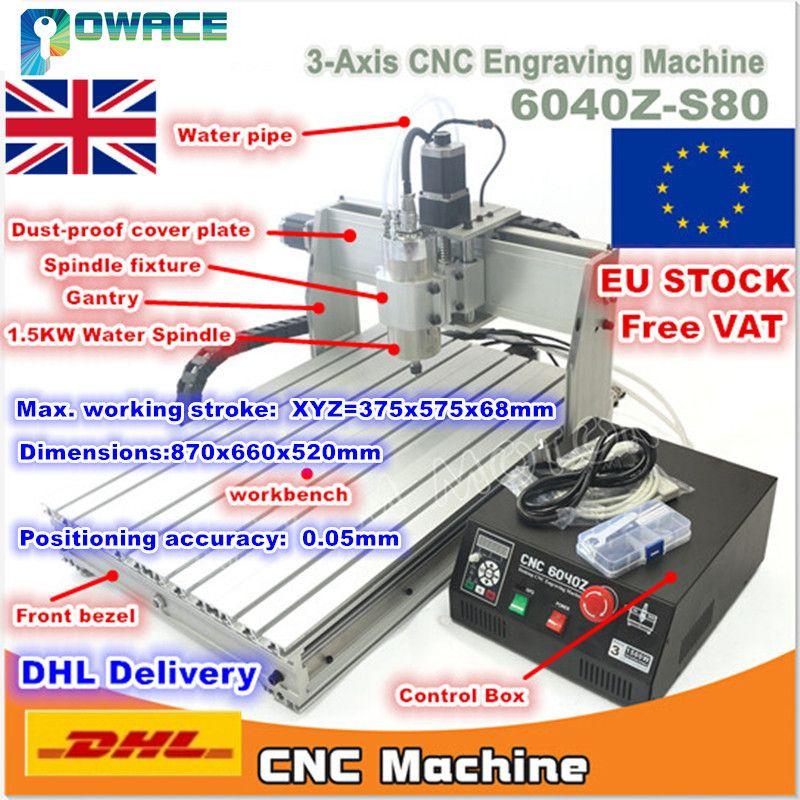 [EU Lager/Freies MEHRWERTSTEUER] 6040 3 Achse 1500 W Mach3 6040Z-S80 CNC Gravur Fräsen Maschine 110 V /220VAC DB25 Port