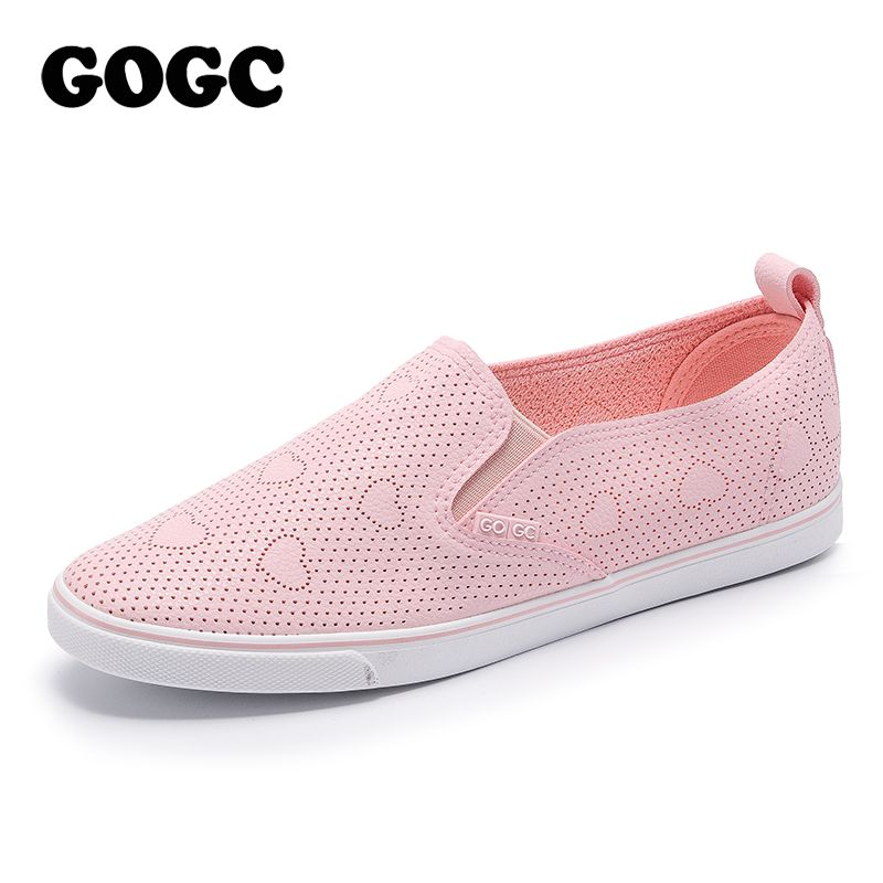 GOGC 2018 Slipony Women Shoes with Hole Breathable Women Flat Shoes Women Sneakers Summer Spring Ladies Leather Shoes footwear