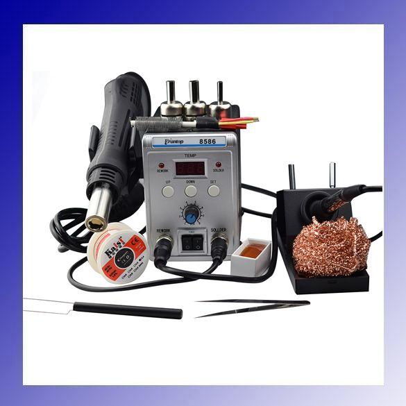 High Quality 750W 2 in 1 SMD Rework Soldering Station New Eruntop 8586 Hot Air Gun + Solder Iron