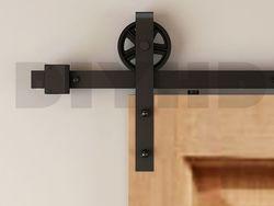 DIYHD 150 cm-244 cm vintage parle grande roue coulissante grange quincaillerie de porte en bois rustique noir grange porte coulissante piste kit