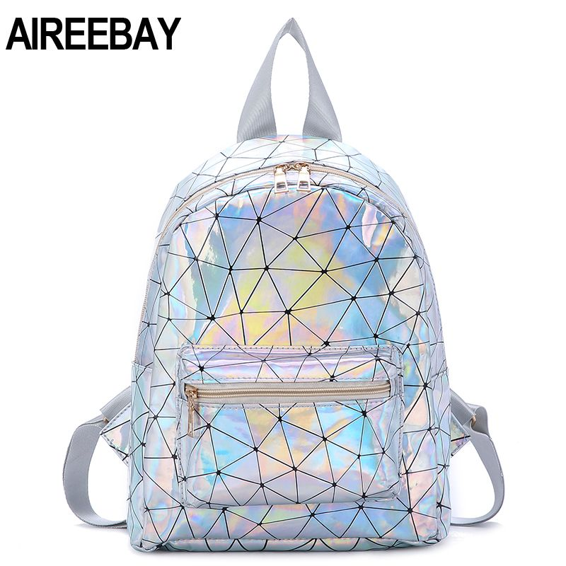 AIREEBAY Women Mini Laser Backpack 2019 New Fashion Geometric Student School Bags For Teenage Girls Holographic Leather Daypacks