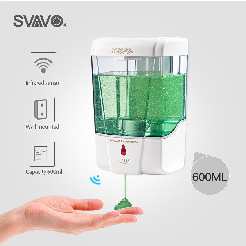 Distributeur automatique de détergent de désinfectant de main de capteur sans contact de distributeur de savon de la capacité 600ml fixé au mur pour la cuisine de salle de bains