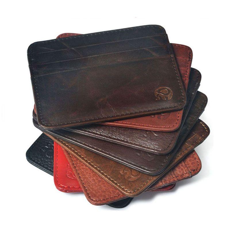 Первый слои корова кожи бренд Тонкий кредитной держатель для карт мини кошелек мужские кожаный ID Чехол сумка Новый Обложка для паспорта