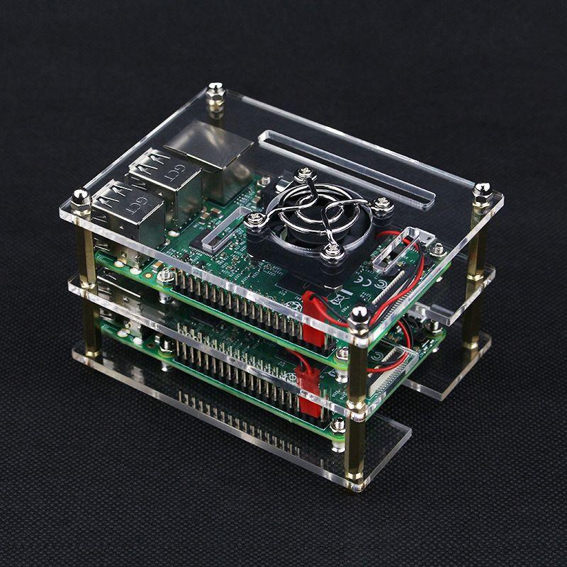 2 Couches Raspberry PI 3 Modèle B Acrylique Cas Transparent couverture Shell Boîtier Boîte avec Ventilateur De Refroidissement pour Raspberry PI 2