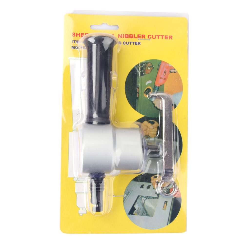 in stock now ! Nibble Metal Cutting Double Head Sheet Nibbler Saw Cutter Tool Drill Attachment Free Cutting Tool Power Tools