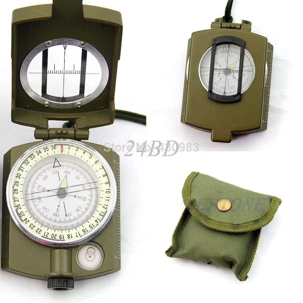 Professional Army Outdoor Use Military Geology Pocket Prismatic Compass + Pouch S27