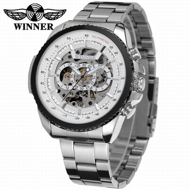 2016 WINNER Fashion Design Black mechanical Watch Steel Automatic watch men black stainless steel band business Relogio Male