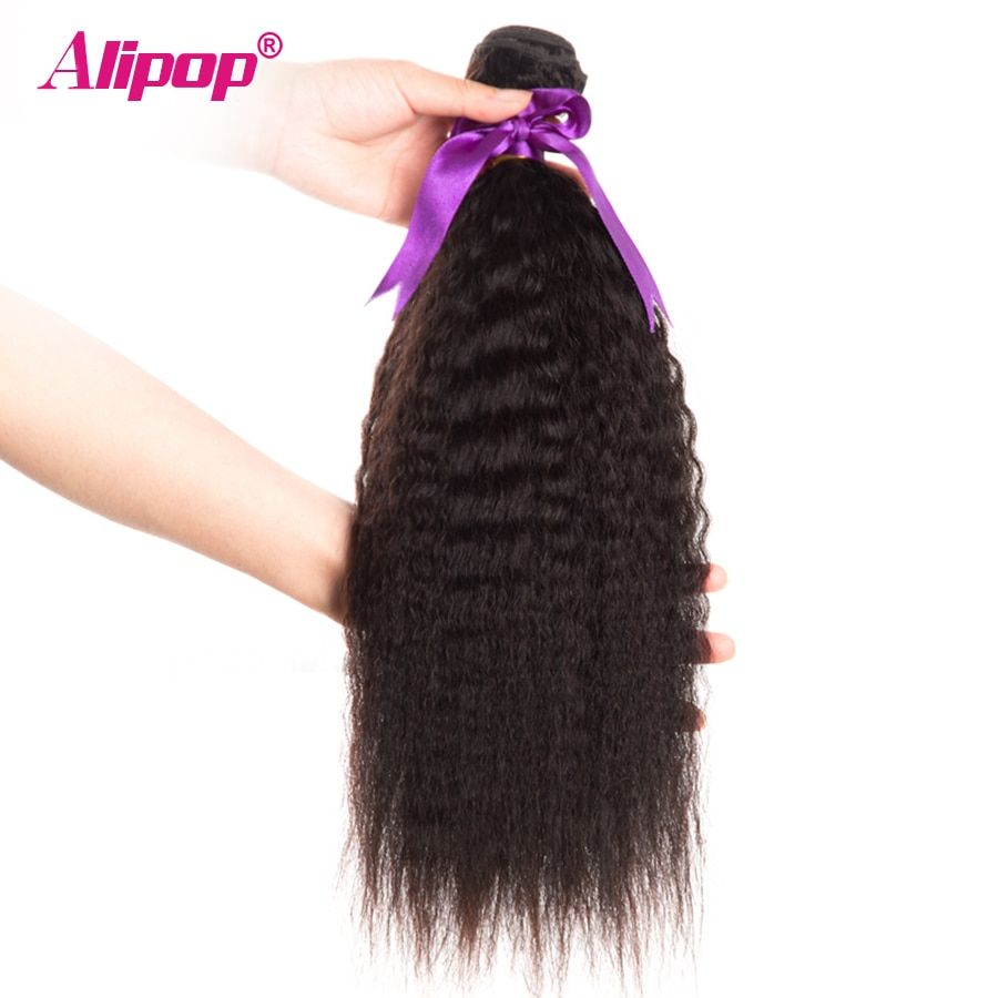 Peruvian Kinky Straight Hair Bundles <font><b>Human</b></font> Hair Bundles Remy <font><b>Human</b></font> Hair Extensions ALIPOP Natural Black Color Weave 1 Bundle