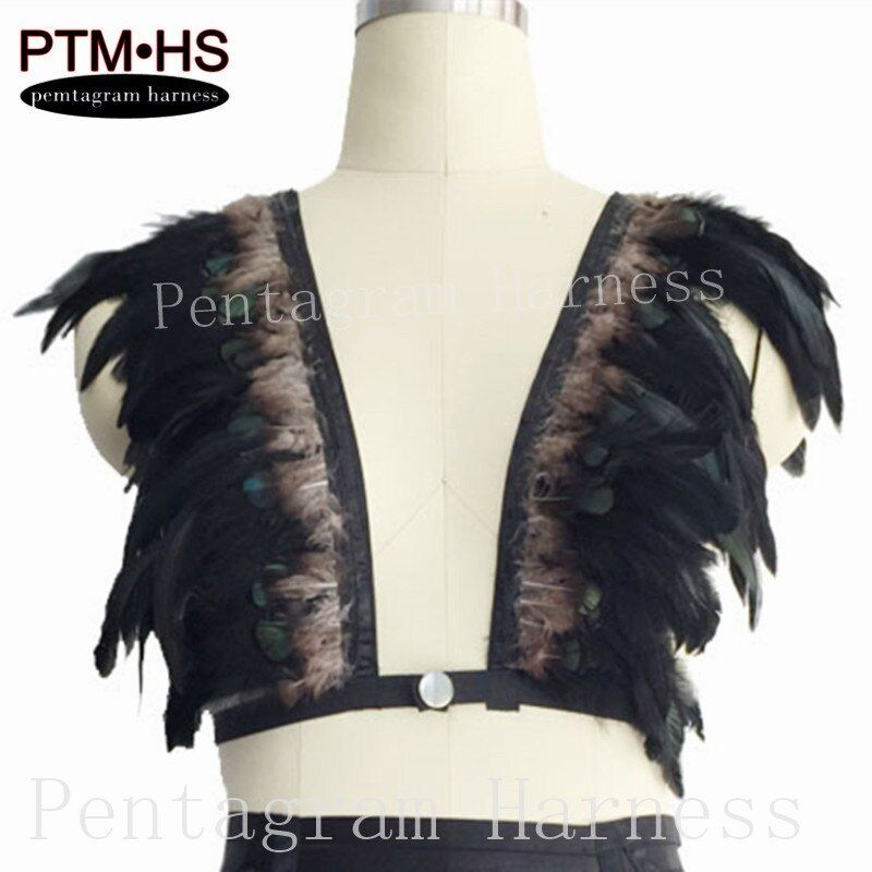 Women Fashion Sexy Feather bralette Top, Boho Lingerie, Mad max, Festival, Rave Burning Man Bra,Top cage harness,dance costume