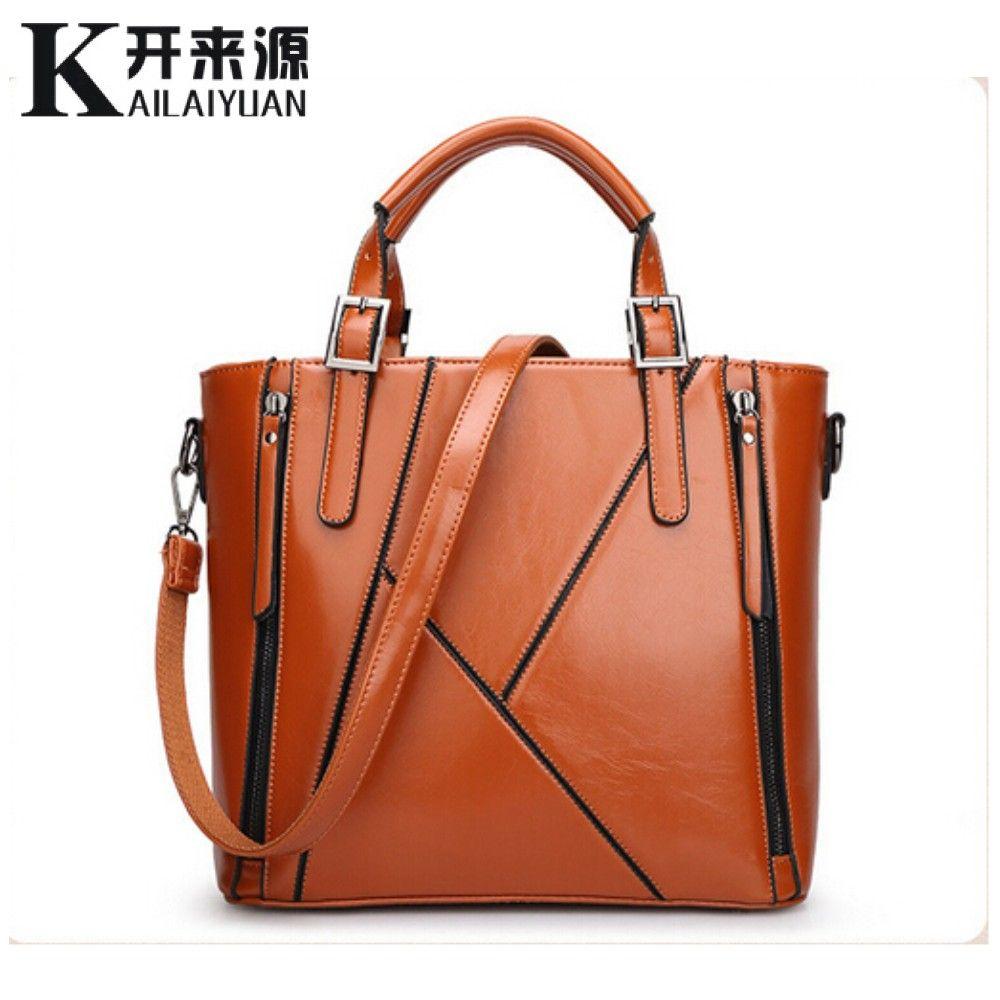 KLY 100% Echtem leder Frauen handtaschen 2018 Neue Europa Handtasche Schulter Messenger Tasche Design nähen mode damen tasche