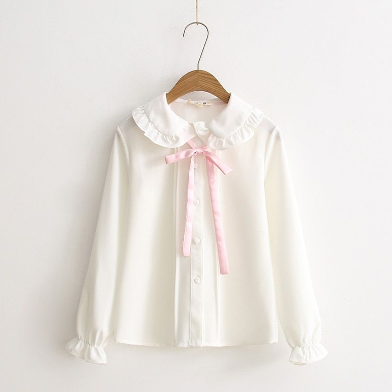 Printemps nouvelle Frais Japonais Doux sœur Doux Jeune Fille Rose Arc Blanc De Base Chemise Mignon Peter pan collar Casual Femmes blouse