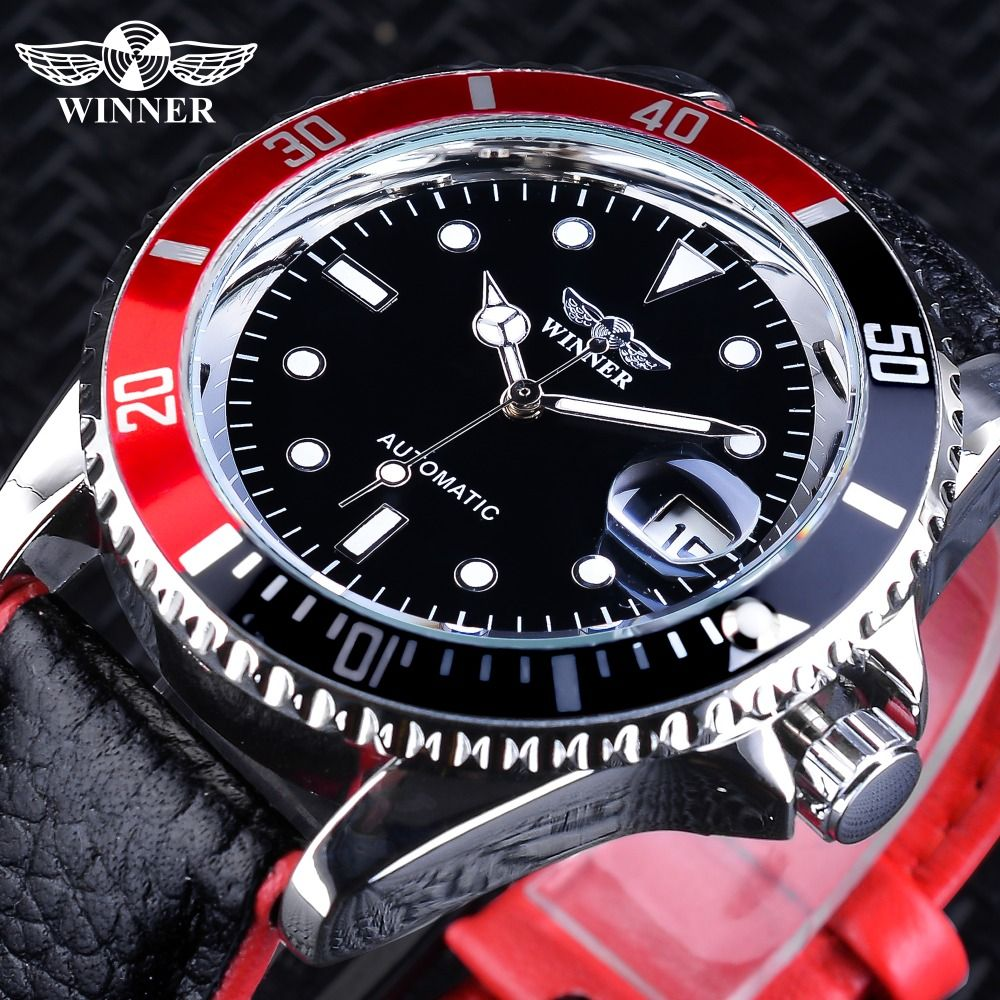 Winner 2018 Fashion Black Red Sport Watches Calendar Display Automatic Self-wind Watches for Men Luminous Hands Genuine Leather