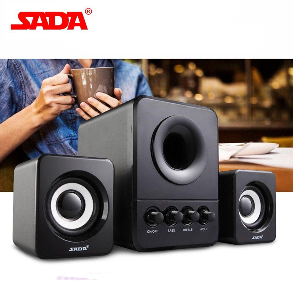 SADA Mini Wired Combination Speaker USB 2.1 Portable Speaker For Laptop Desktop Computer Mobile Phone Column Bass 3W PC Speaker