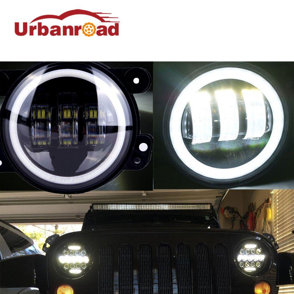 4 Zoll Runde Führte Nebellicht Scheinwerfer 30 Watt Projektor objektiv Mit Halo DRL Lampe Für Offroad Jeep Wrangler Jk Dodge Harley Daymaker