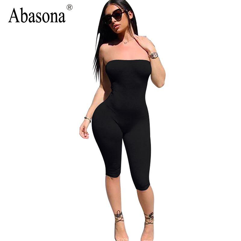 Abasona bretelles noir solide spandex combishorts épaule dénudée été shorts barboteuses femmes combinaison dos nu femme