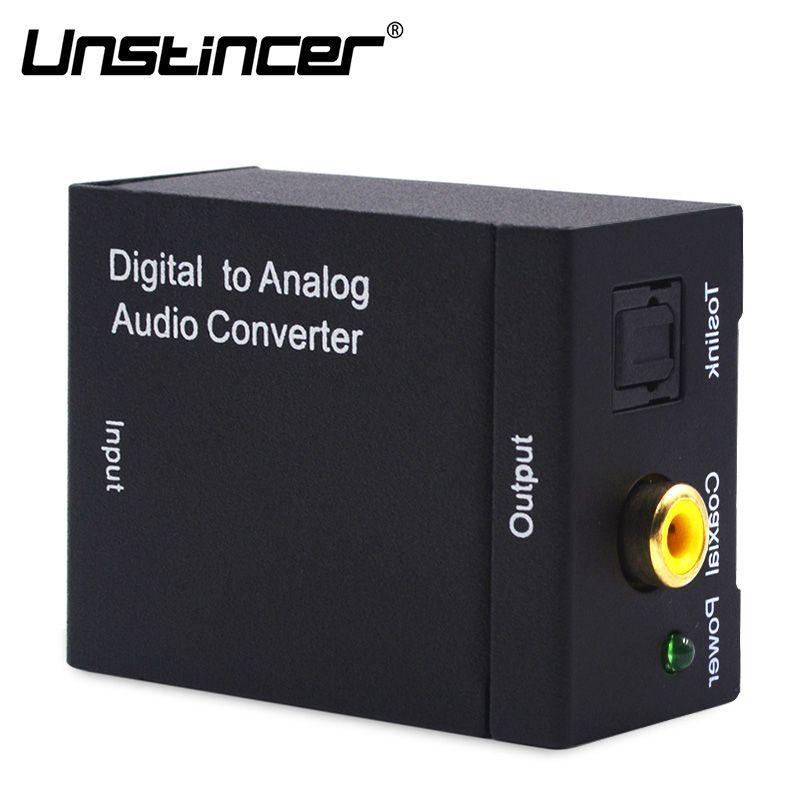 Caja Del Adaptador Del Convertidor de Audio Coaxial o Toslink Digital A Analógico de Audio Digital a Analógico L/R de Audio para el Amplificador a través de RCA tomas