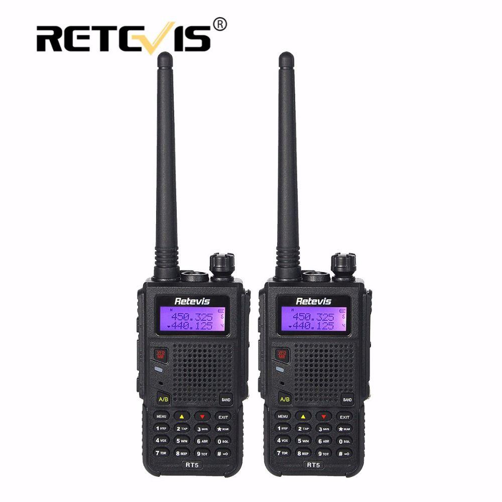 2pcs 8W Walkie Talkie Black Retevis RT5 128CH VHF UHF Frequency Portable cb Radio Set Long Range 2 Way Radio Station Walk Talk
