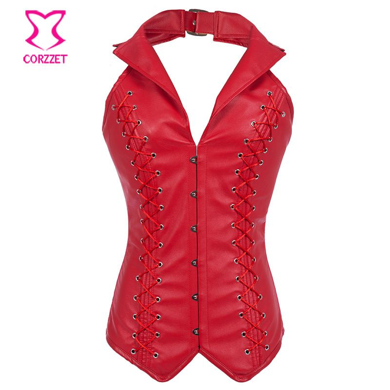Red Faux Leather Halter Top Overbust Gothic Steampunk Corset 6XL Plus Size Corpetes E Espartilhos Steel Boned Corsets For Women