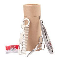 ZY Manusia Kumis Beard Perlengkapan Anti Karat Lurus Sisi Cukur Razor + Barber Sisir Rambut + 4.5 Inci Cutting Scissor gunting