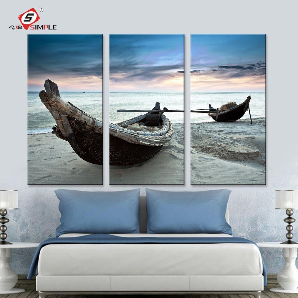 Livraison directe peinture à l'huile mur Art toile imprime plage paysage bateau moderne mur photos pour salon décoration de la maison 3 pièces