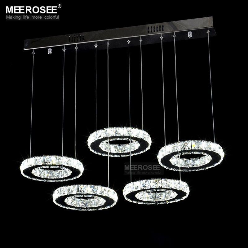 Gute Qualität Chrome Kristall Kronleuchter LED Diamant Ring Lampe Kreis Edelstahl Hängen Leuchten Beleuchtung LED Lüster