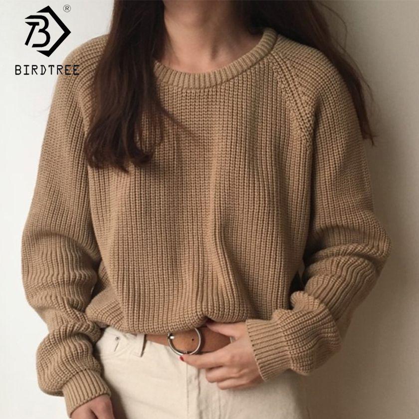 Mode coréenne dames manches longues femmes chandail à tricoter solide pull à col rond et pull pull en vrac offre spéciale S80209Q