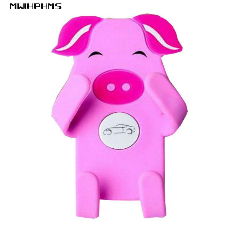 MWIHPHMS universel De Voiture support de téléphone de silicone de sortie de bande dessinée stand Toute déformation de voiture sortie de climatisation GPS support rose de porc