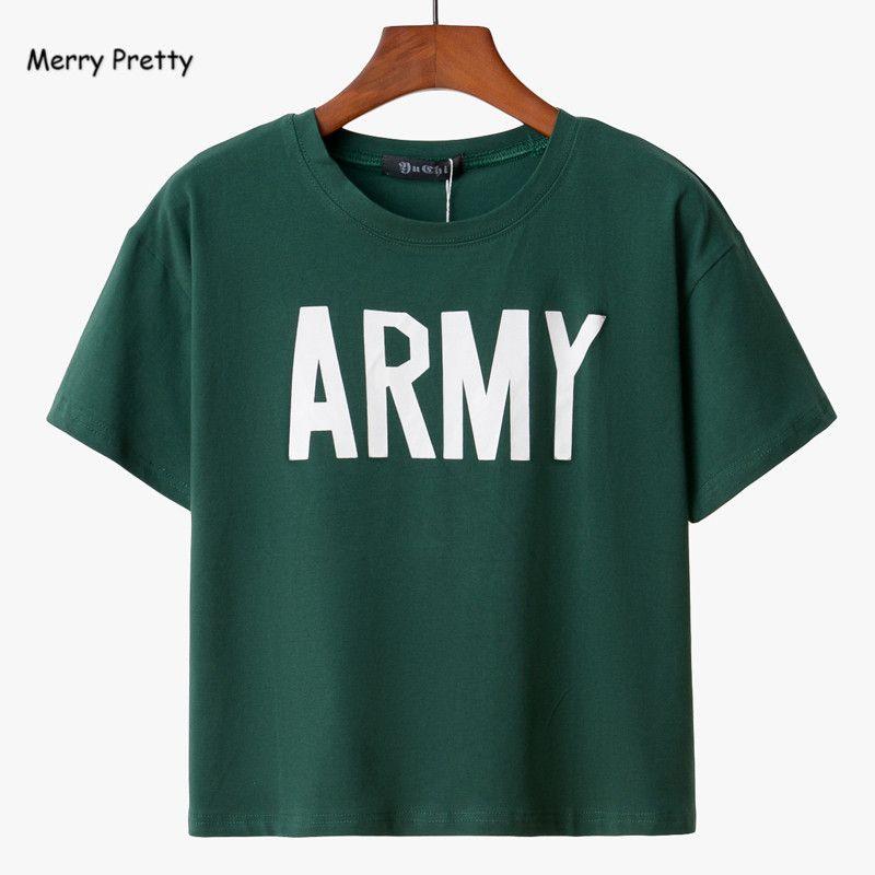Joyeux jolies femmes T-shirt 2018 été Style armée vert t-shirts Harajuku lâche décontracté hauts lettre imprimé femme coton T-shirt