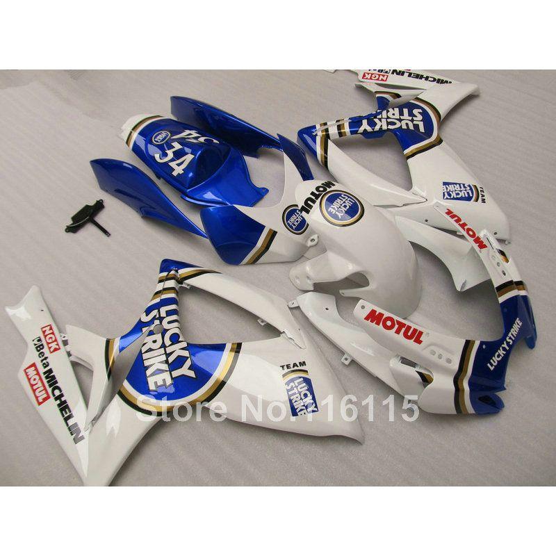 Injection mold fairing kit for SUZUKI GSXR 600 750 K6 K7 2006 2007 blue LUCKY STRIKE GSXR600 GSXR750 fairings set 06 07 NF43