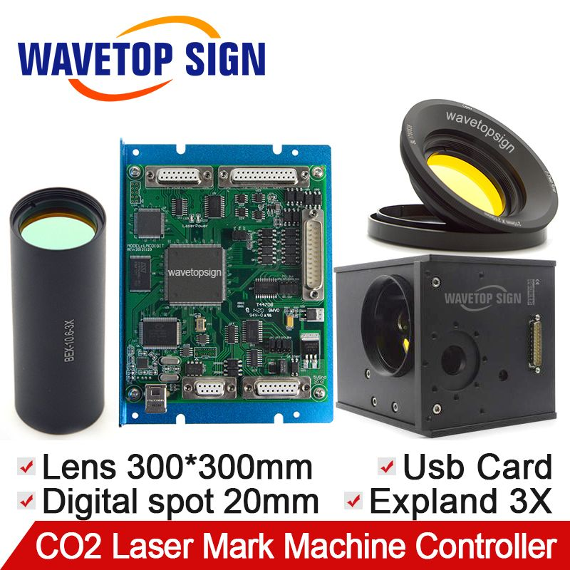 CO2 Laser Galvanometer Digital Signal 1Sets + Scanning Lens 300*300mm+Beam Expander 3X + USB Control Card Digital Signal 1Sets