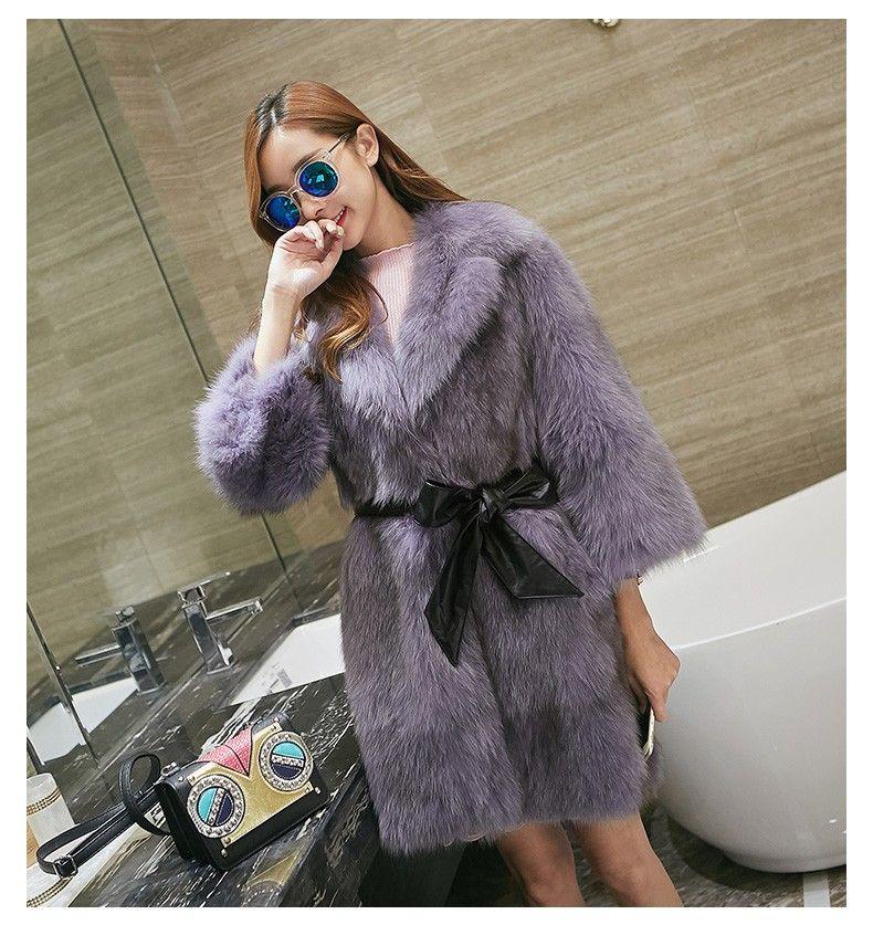 Hots saLE European fashion natural fox fur coats Women long hairs fashion real fox fur coats jackets