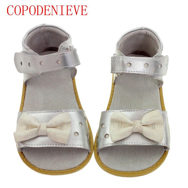 COPODENIECE Girls sandals genuine leather white pink red open toe flowers summer girls shoes kids shoes wide Children' s shoes