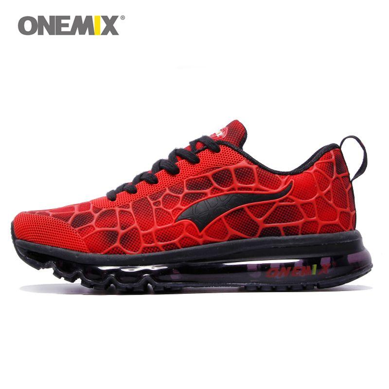Onemix Sport Chaussures Hommes Chaussure de Course Élastique Rouge Noir Sneaker Air coussin de Sport Formateur Homme Formation Taille UE 39-47 NOUS 12 13
