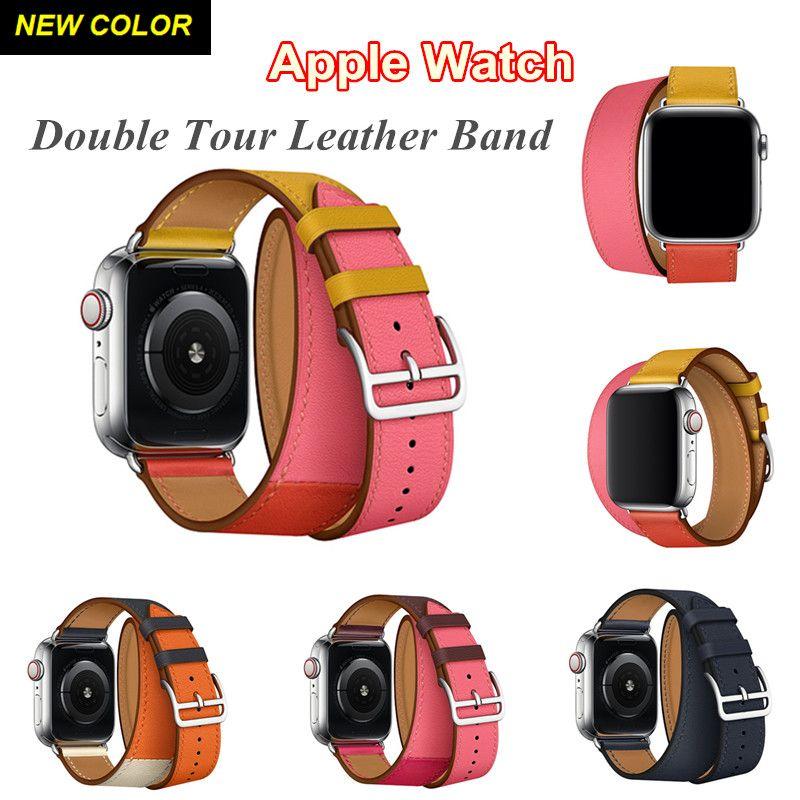 Logo HERM sur bracelet à boucle pour montre Apple 4 3 2 1 Double Tour en cuir rapide 44 MM 40 MM 42 MM 38 MM bande boucle en cuir pour iWatch 4 3