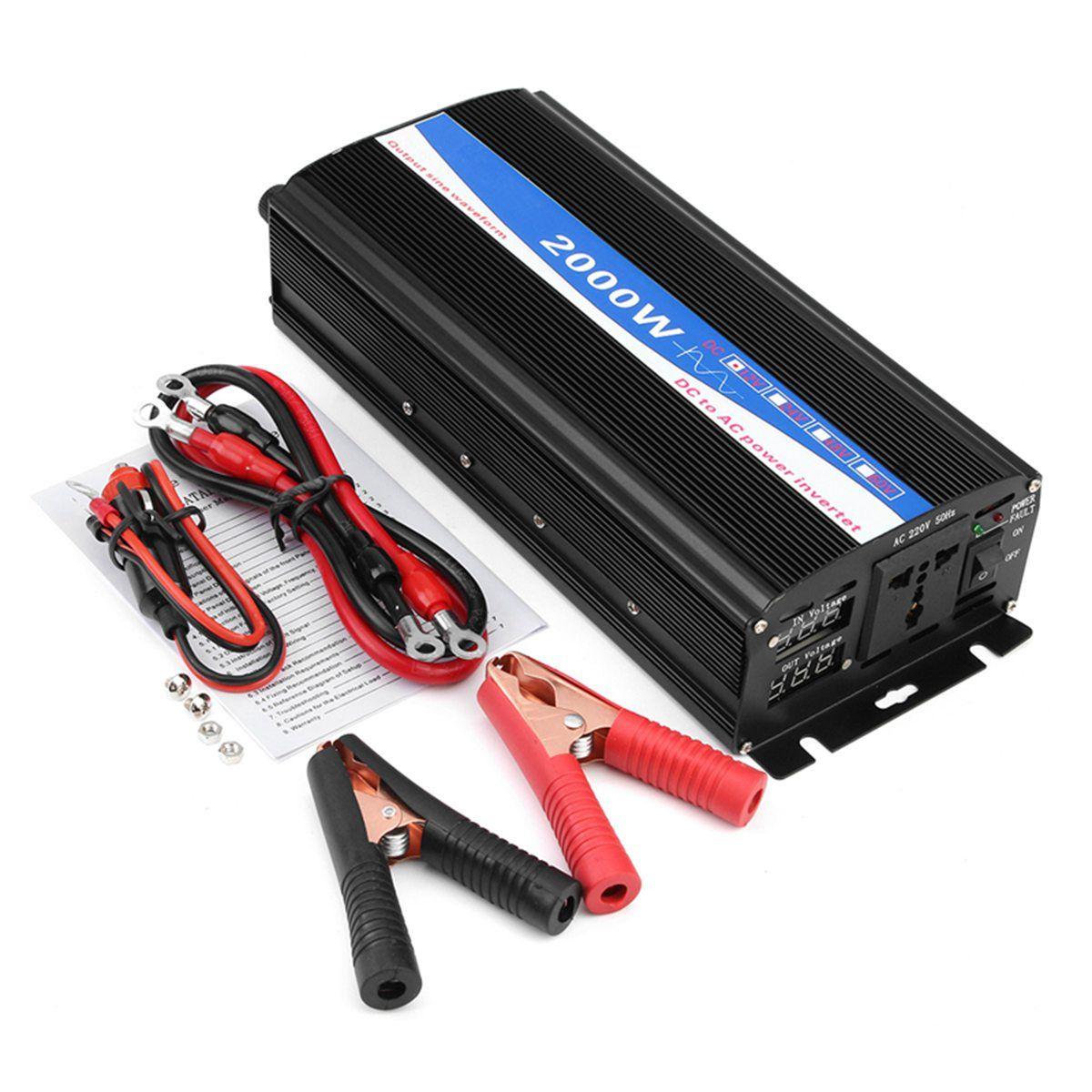 12V-220V 2000W Pure Sine Wave Inverter LED Power Inverter DC12V to AC 220V Digital Display
