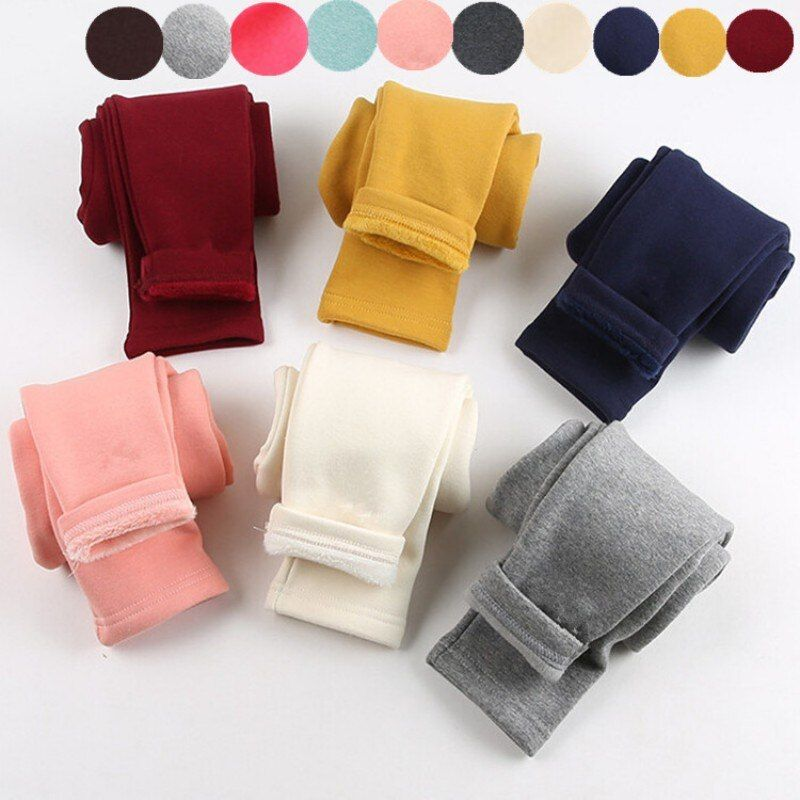 2019 Winter New Girls Leggings Cotton Plus Thick Velvet Warm Candy Color Girls Pants 2-8 Years Children's Pants
