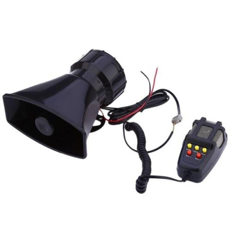 LARATH Hot sale 1 set 5 Sound Loud Car Truck Speaker Warning Alarm Police Fire Siren Horn 12V 100W 105db With MIC Microphone
