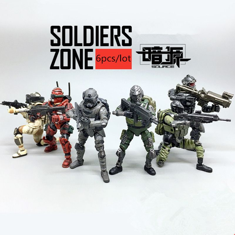 (6pcs/lot)JOY TOY source 1:27 the 2rd generation Soldiers' joints movable Military PVC toys