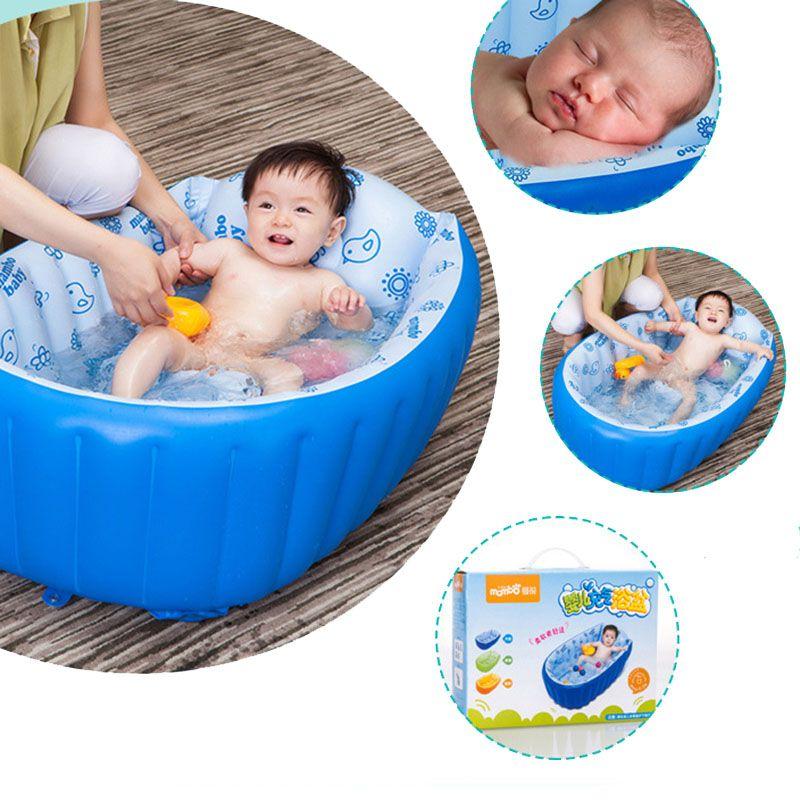 Nouveau-né Coton Gonflable Bébé baignoire Solide En Plastique de Sécurité de Dessin Animé Gonfler Bébé Piscine Baignoire Coussin de Sécurité