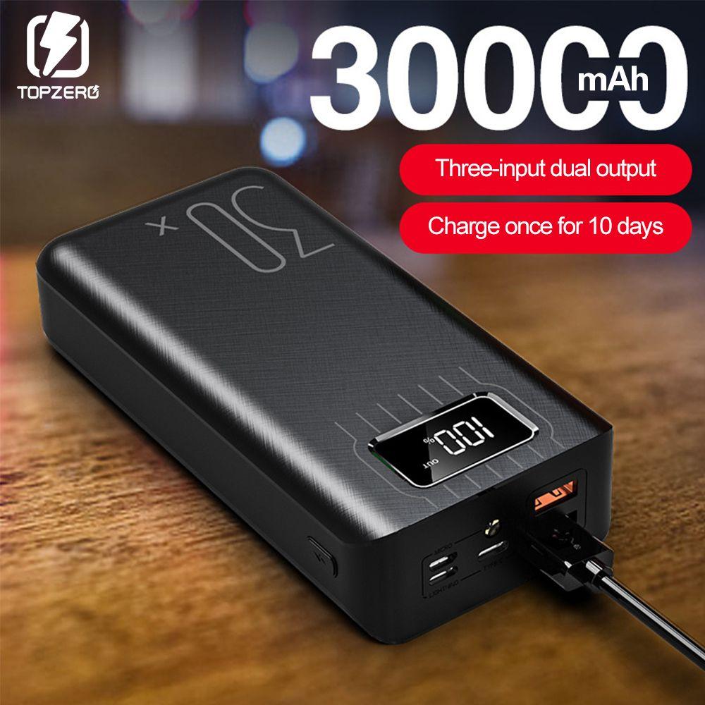 Batterie externe 30000mAh tyec Micro USB QC charge rapide Powerbank affichage de LED chargeur de batterie externe Portable pour tablette de téléphone