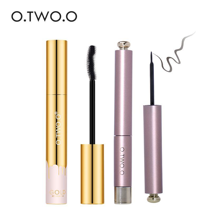 O. DEUX. O 2 pcs/ensemble Eye Make Up Set Étanche Noir Liquide Eyeliner + Mascaraset Cosmétiques Longue tenue Bonne Rétroaction
